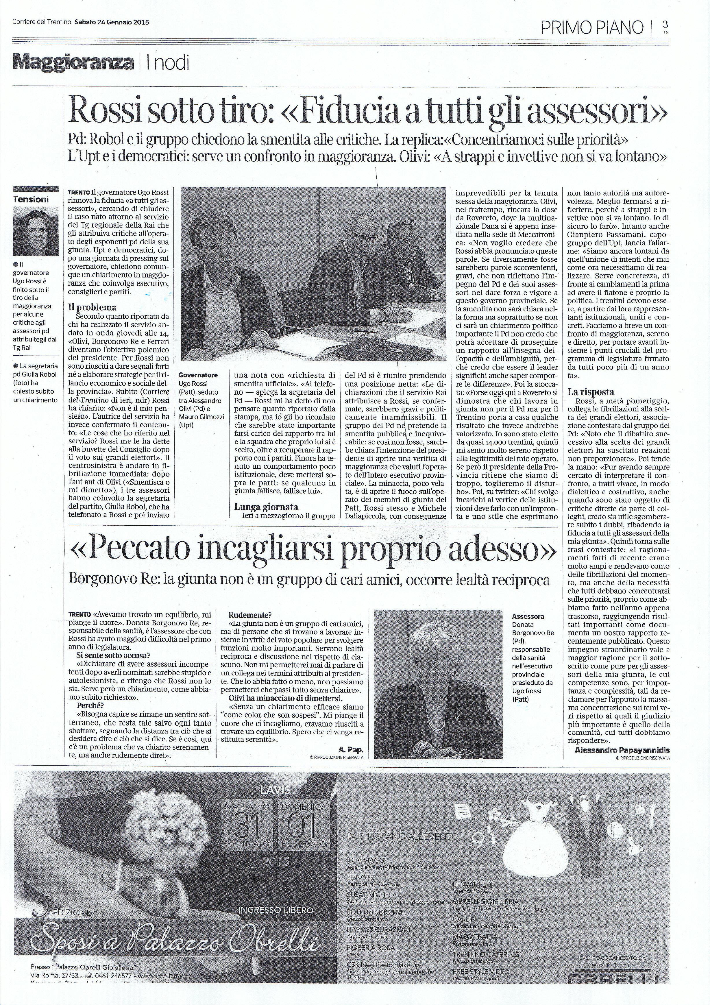 Corriere del Trentino del 25 gennaio 2015