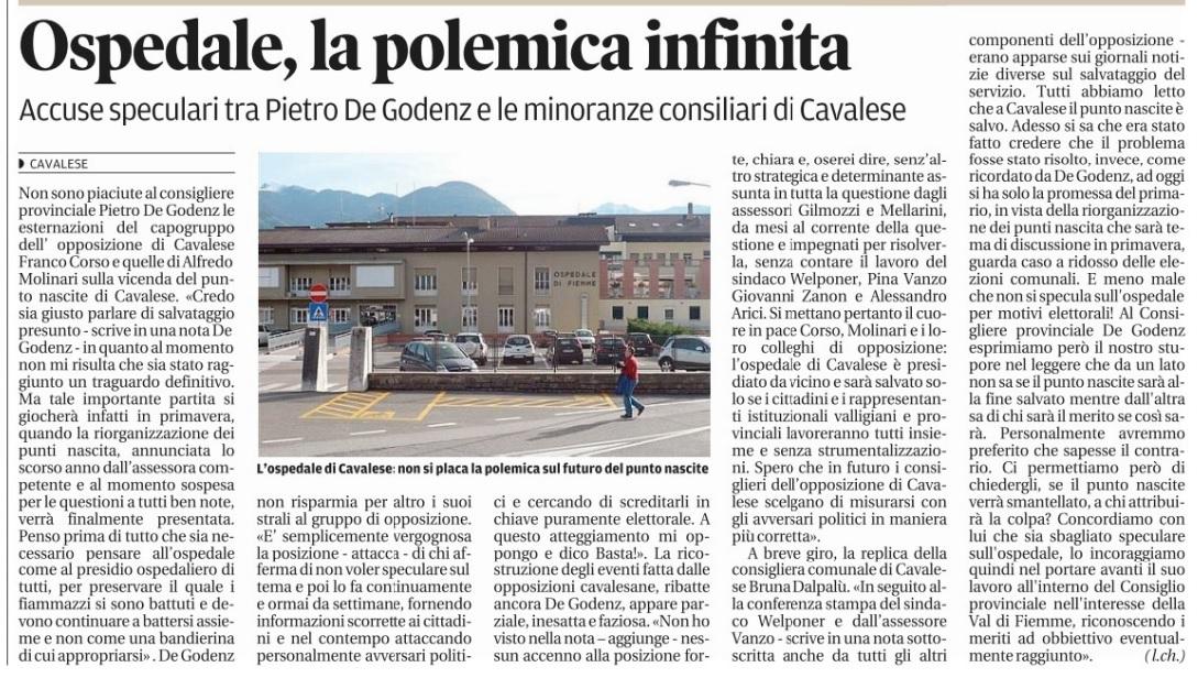 FONTE: Quotidiano Trentino del 23 gennaio 2015