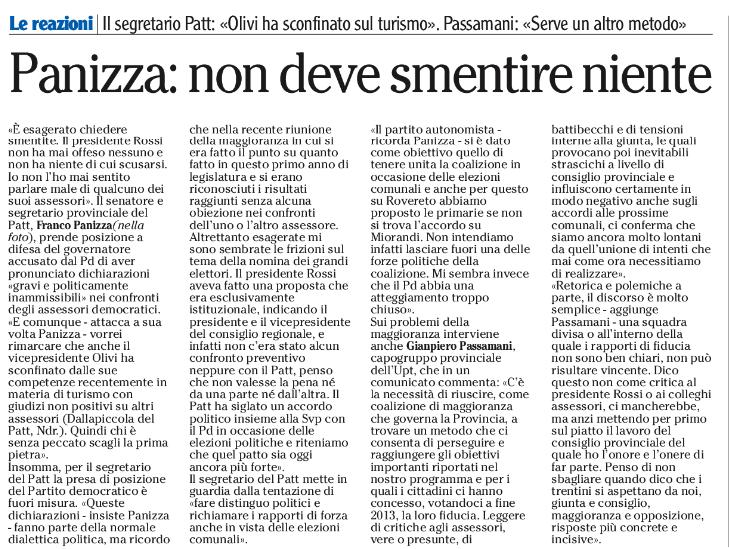 FONTE: Quotidiano Adige del 24 gennaio 2015