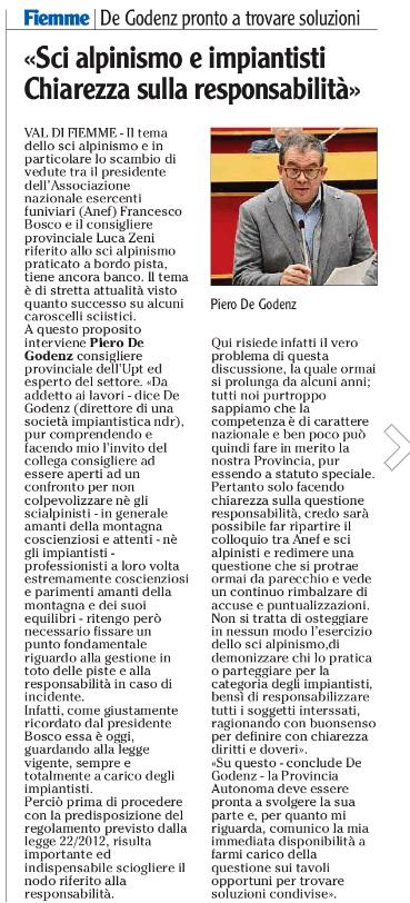 FONTE: Quotidiano ADIGE del 14 febbraio 2015