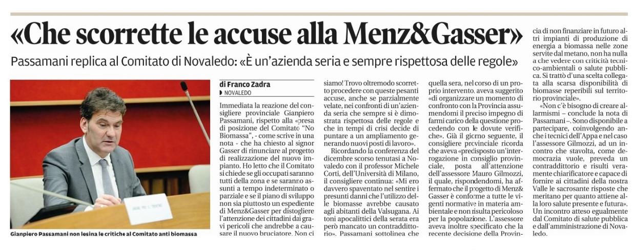 Quotidiano il Trentino del 19 Febbraio 2015