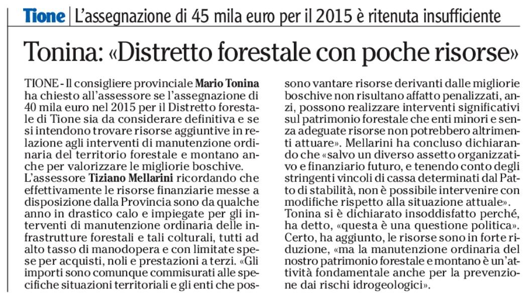 FONTE: Quotidiano ADIGE del 25 marzo 2015
