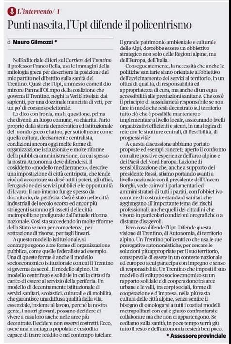 FONTE: Quotidiano CORRIERE DEL TRENTINO del 26 luglio 2015