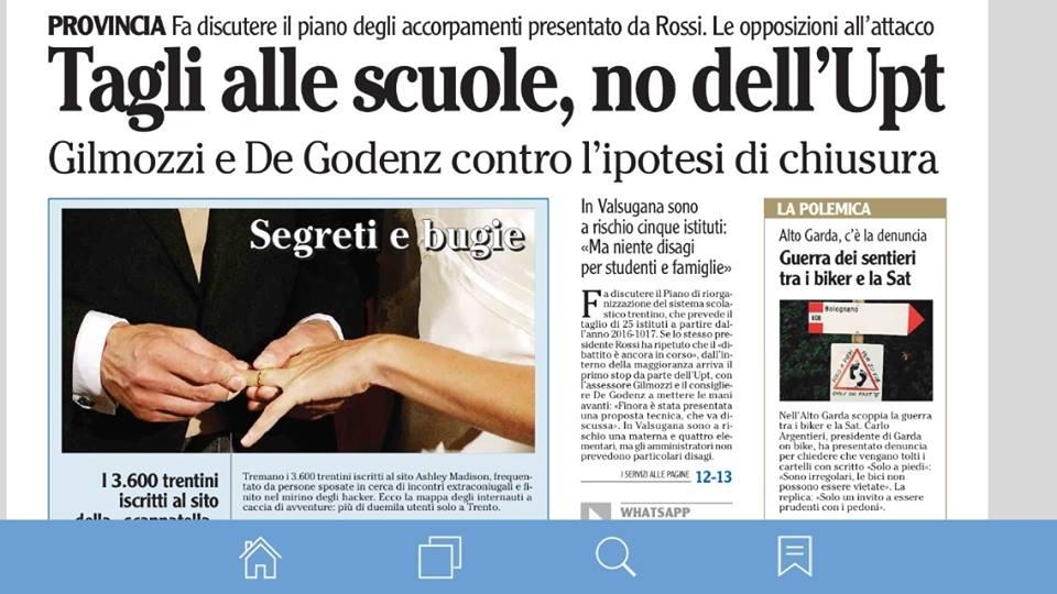 FONTE: Quotidiano ADIGE del 27 agosto 2015