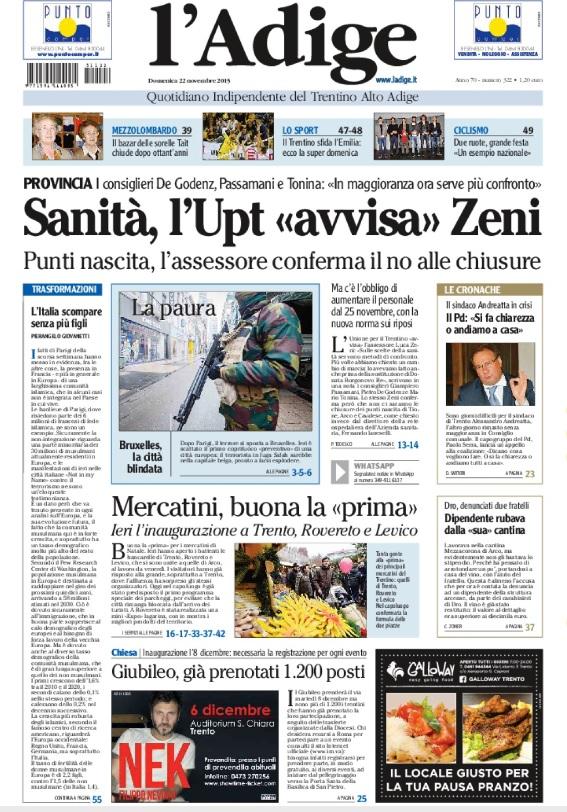 FONTE: Quotidiano ADIGE del 22 novembre 2015