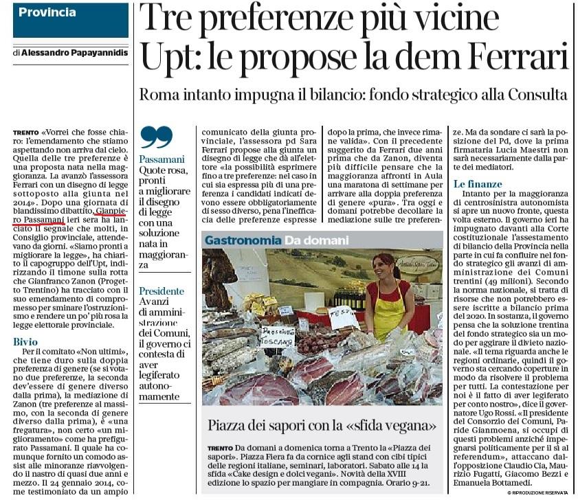 FONTE: Quotidiano CORRIERE DEL TRENTINO del 5 ottobre 2016